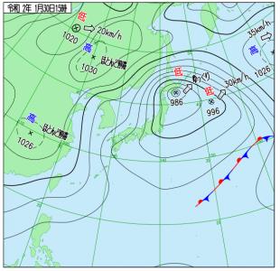 1月30日(木)15時の実況天気図