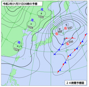 1月31日(金)9時の予想天気図