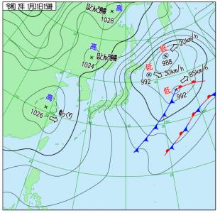 1月31日(金)15時の実況天気図