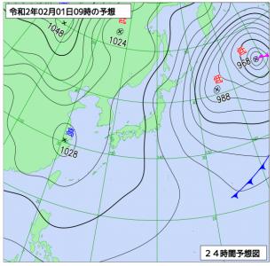 2月1日(土)9時の予想天気図