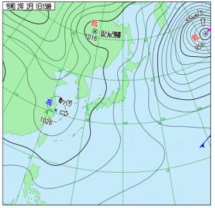 2月1日(土)15時の実況天気図