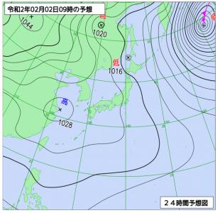 2月2日(日)9時の予想天気図