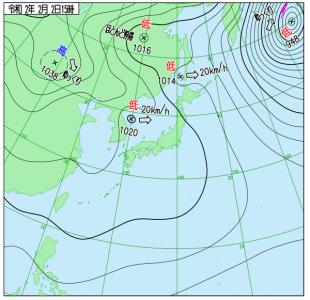 2月2日(日)15時の実況天気図