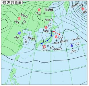 2月3日(月)15時の実況天気図