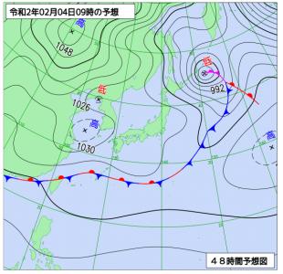 2月4日(火)9時の予想天気図