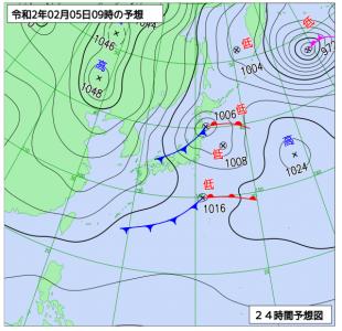 2月5日(水)9時の予想天気図