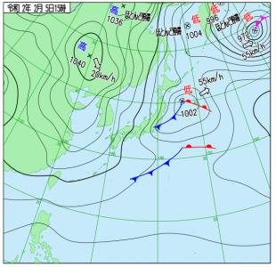 2月5日(水)15時の実況天気図