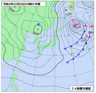 2月6日(木)9時の予想天気図