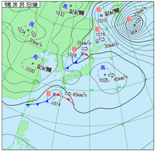 2月7日(金)15時の実況天気図