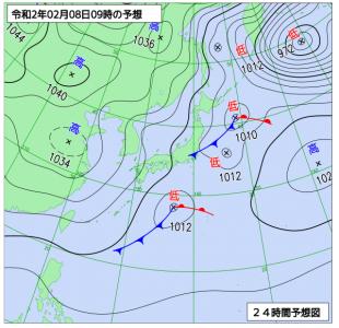 2月8日(土)9時の予想天気図