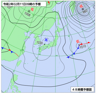 2月11日(火祝)9時の予想天気図