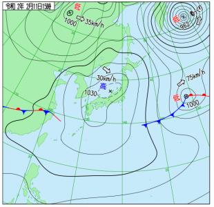 2月11日(火祝)15時の実況天気図