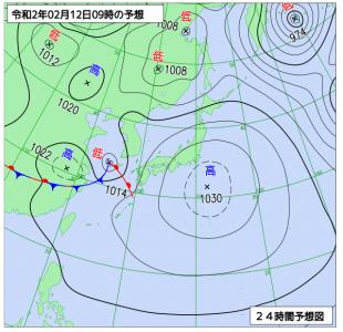 2月12日(水)9時の予想天気図