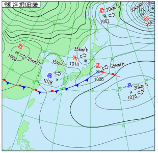 2月13日(木)15時の実況天気図