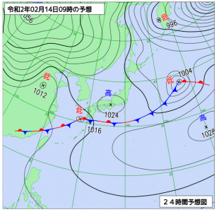 2月14日(金)9時の予想天気図
