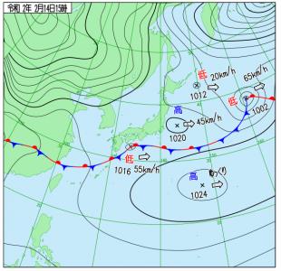 2月14日(金)15時の実況天気図