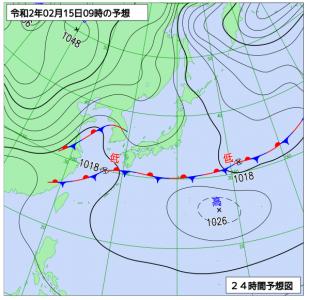 2月15日(土)9時の予想天気図