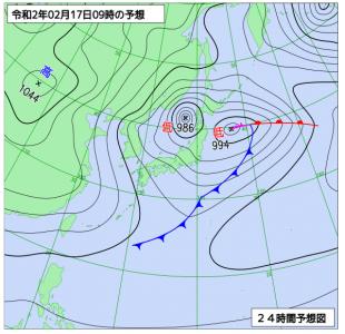 2月17日(月)9時の予想天気図