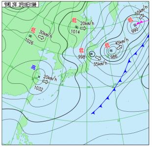 2月18日(火)15時の実況天気図