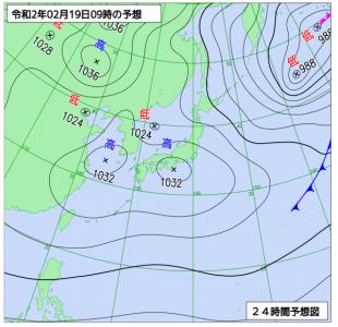 2月19日(水)9時の予想天気図