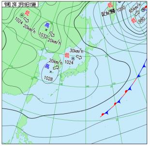 2月19日(水)15時の実況天気図