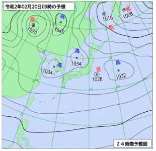 2月20日(木)9時の予想天気図