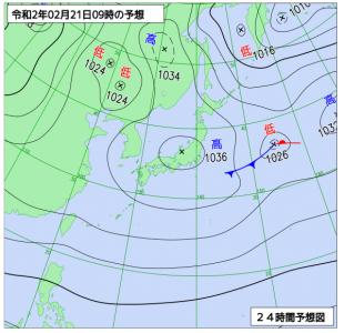 2月21日(金)9時の予想天気図