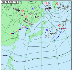 2月21日(金)15時の実況天気図
