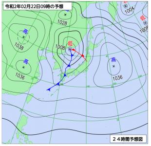 2月22日(土)9時の予想天気図
