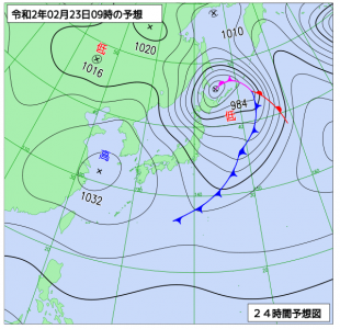 2月23日(日祝)9時の予想天気図