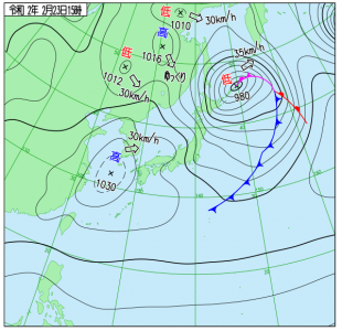 2月23日(日祝)15時の実況天気図