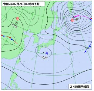 2月24日(月振)9時の予想天気図