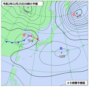 2月25日(火)9時の予想天気図