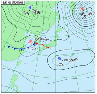 2月25日(火)15時の実況天気図