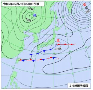 2月26日(水)9時の予想天気図