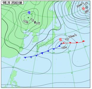 2月26日(水)15時の実況天気図