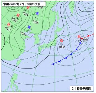 2月27日(木)9時の予想天気図