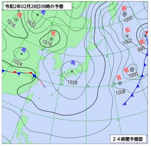 2月28日(金)9時の予想天気図