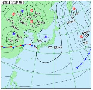 2月28日(金)15時の実況天気図