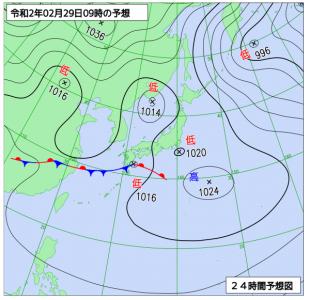 2月29日(土)9時の予想天気図