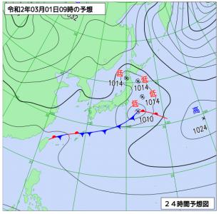 3月1日(日)9時の予想天気図