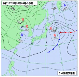 3月3日(火)9時の予想天気図
