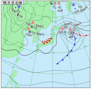 3月3日(火)15時の実況天気図