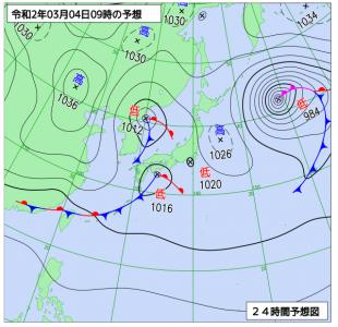 3月4日(水)9時の予想天気図