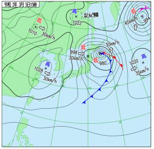 3月5日(木)15時の実況天気図