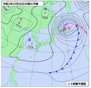 3月6日(金)9時の予想天気図