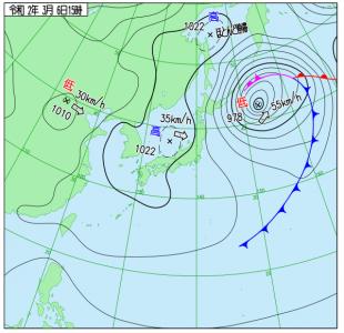 3月6日(金)15時の実況天気図