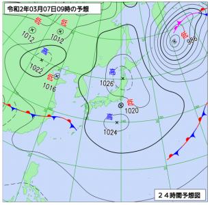 3月7日(土)9時の予想天気図