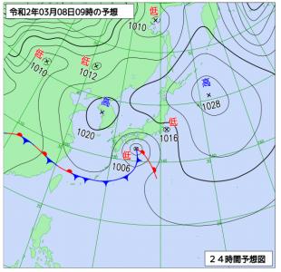 3月8日(日)9時の予想天気図