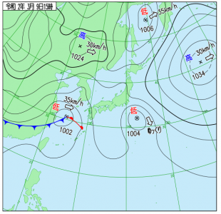 3月9日(月)15時の実況天気図